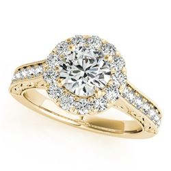 1.7 CTW Certified VS/SI Diamond Solitaire Halo Ring 18K Yellow Gold - REF-409K6W - 26514