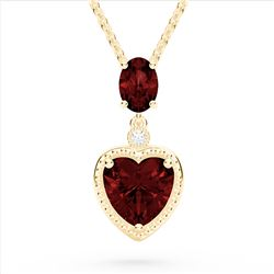 4 CTW Garnet & VS/SI Diamond Designer Heart Necklace 10K Yellow Gold - REF-26A2X - 22525