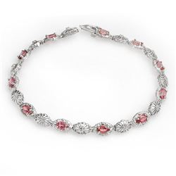 3.83 CTW Red Sapphire & Diamond Bracelet 10K White Gold - REF-44A2X - 14246