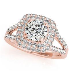 1.35 CTW Certified VS/SI Diamond Solitaire Halo Ring 18K Rose Gold - REF-172F2N - 26462