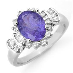 2.90 CTW Tanzanite & Diamond Ring 18K White Gold - REF-125A5X - 14448