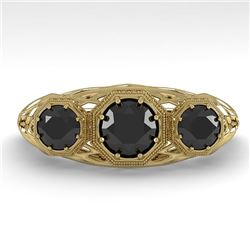 1.00 CTW Past Present Future Black Diamond Ring 18K Yellow Gold - REF-81K3W - 36061