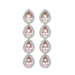 7.8 CTW Morganite & Diamond Halo Earrings 10K White Gold - REF-189M6H - 41150