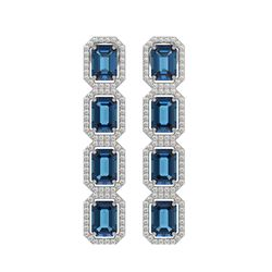 12.02 CTW London Topaz & Diamond Halo Earrings 10K White Gold - REF-152K2W - 41462