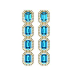 11.13 CTW Swiss Topaz & Diamond Halo Earrings 10K Yellow Gold - REF-150H9A - 41461