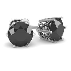 1.0 CTW Black Certified Diamond Stud Art Deco Earrings 14K White Gold - REF-35M3H - 29664