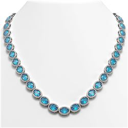 55.41 CTW Swiss Topaz & Diamond Halo Necklace 10K White Gold - REF-681T8M - 40586