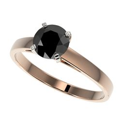 1 CTW Fancy Black VS Diamond Solitaire Engagement Ring 10K Rose Gold - REF-28M3H - 32985