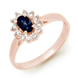 0.51 CTW Blue Sapphire & Diamond Ring 18K Rose Gold - REF-32W2F - 12625