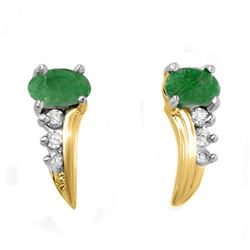 0.60 CTW Emerald & Diamond Earrings 10K Yellow Gold - REF-14Y5K - 13743