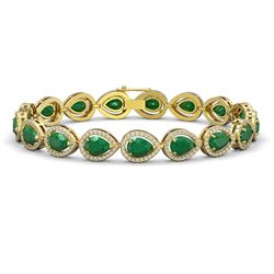 21.69 CTW Emerald & Diamond Halo Bracelet 10K Yellow Gold - REF-315F5N - 41092