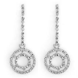 1.0 CTW Certified VS/SI Diamond Earrings 14K White Gold - REF-109K3W - 10304
