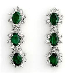 4.88 CTW Emerald & Diamond Earrings 14K White Gold - REF-104M5H - 11300
