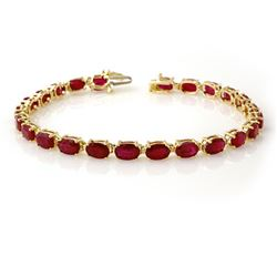 16.0 CTW Ruby Bracelet 10K Yellow Gold - REF-80M2H - 13449