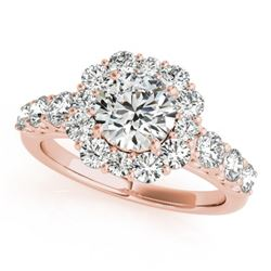 2.25 CTW Certified VS/SI Diamond Solitaire Halo Ring 18K Rose Gold - REF-445Y3K - 26267