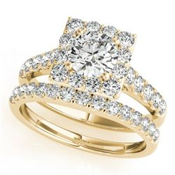 2.29 CTW Certified VS/SI Diamond 2Pc Wedding Set Solitaire Halo 14K Yellow Gold - REF-434W8F - 31189