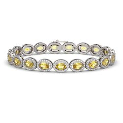 12.73 CTW Fancy Citrine & Diamond Halo Bracelet 10K White Gold - REF-226F9N - 40493