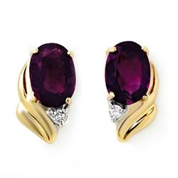 1.03 CTW Amethyst & Diamond Earrings 10K Yellow Gold - REF-11K3W - 12858