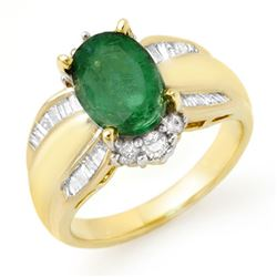 2.87 CTW Emerald & Diamond Ring 14K Yellow Gold - REF-86W8F - 12939