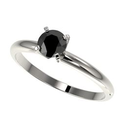0.50 CTW Fancy Black VS Diamond Solitaire Engagement Ring 10K White Gold - REF-23F3N - 32858