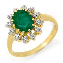 1.46 CTW Emerald & Diamond Ring 10K Yellow Gold - REF-23F3N - 12714