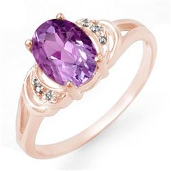 1.05 CTW Amethyst & Diamond Ring 14K Rose Gold - REF-19A8X - 12301