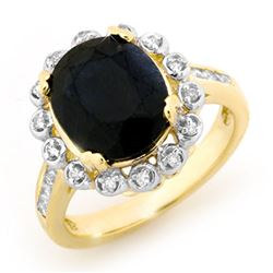 5.33 CTW Blue Sapphire & Diamond Ring 10K Yellow Gold - REF-72H8A - 13441