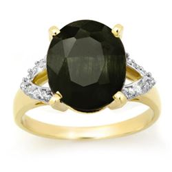 5.30 CTW Blue Sapphire & Diamond Ring 10K Yellow Gold - REF-40T4M - 12880