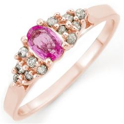 0.74 CTW Pink Sapphire & Diamond Ring 14K Rose Gold - REF-29M5H - 10289