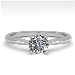 0.50 CTW VS/SI Diamond Engagement Designer Ring 18K White Gold - REF-107W3F - 32382