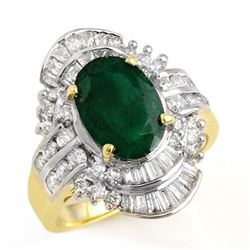 3.45 CTW Emerald & Diamond Ring 14K Yellow Gold - REF-110H5A - 12974
