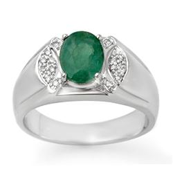 2.15 CTW Emerald & Diamond Men's Ring 10K White Gold - REF-61T8M - 13413