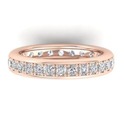 1.33 CTW Certified VS/SI Diamond Eternity Band Ladies 14K Rose Gold - REF-98F5N - 30328