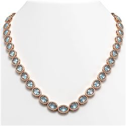 41.88 CTW Aquamarine & Diamond Halo Necklace 10K Rose Gold - REF-722H4A - 40578