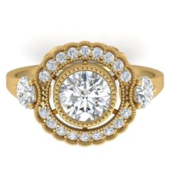 1.9 CTW Certified VS/SI Diamond Art Deco 3 Stone Ring 14K Yellow Gold - REF-411H5A - 30548