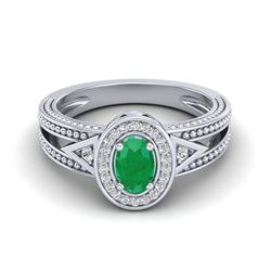 0.83 CTW Emerald & VS/SI Diamond Solitaire Halo Fashion Ring 10K White Gold - REF-25T8M - 20836