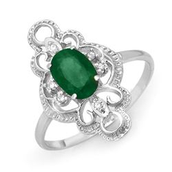 0.71 CTW Emerald & Diamond Ring 10K White Gold - REF-17T5M - 12480