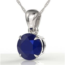 2 CTW Sapphire Designer Inspired Solitaire Necklace 18K White Gold - REF-24H9A - 22040