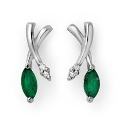 0.50 CTW Emerald & Diamond Earrings 14K White Gold - REF-23T5M - 13235