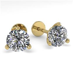 0.50 CTW Certified VS/SI Diamond Stud Earrings 14K Yellow Gold - REF-44Y4K - 38306
