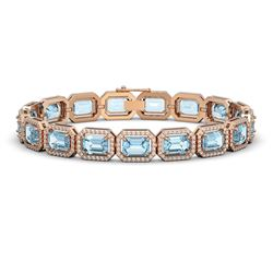 24.51 CTW Aquamarine & Diamond Halo Bracelet 10K Rose Gold - REF-401N3Y - 41403