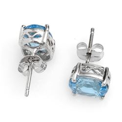 2.0 CTW Blue Topaz Earrings 14K White Gold - REF-11T6M - 10045