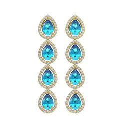 7.81 CTW Swiss Topaz & Diamond Halo Earrings 10K Yellow Gold - REF-137Y3K - 41173