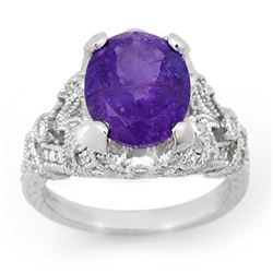 6.10 CTW Tanzanite & Diamond Ring 14K White Gold - REF-238M8H - 14519