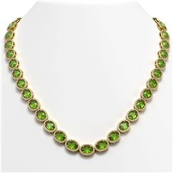 48.14 CTW Peridot & Diamond Halo Necklace 10K Yellow Gold - REF-756F5N - 40582