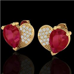 2.50 CTW Ruby & Micro Pave VS/SI Diamond Earrings 10K Yellow Gold - REF-33K8W - 20078