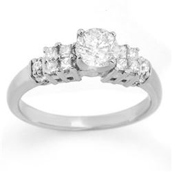 1.0 CTW Certified VS/SI Diamond Ring 14K White Gold - REF-137A6X - 11627