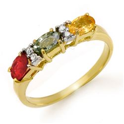 1.10 CTW Multi-Sapphire & Diamond Ring 10K Yellow Gold - REF-22F2N - 13658