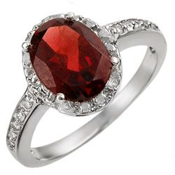 2.10 CTW Garnet & Diamond Ring 14K White Gold - REF-26H4A - 11531