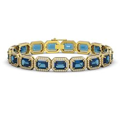 25.36 CTW London Topaz & Diamond Halo Bracelet 10K Yellow Gold - REF-313X3T - 41416
